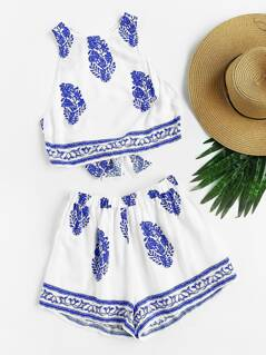 Bow Tie Open Back Crop Tank Top And Shorts Set