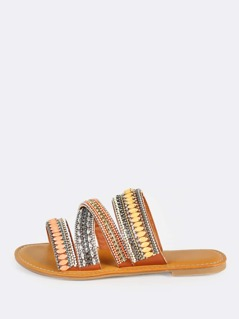 Multi Bejeweled Slip On Sandals TAN