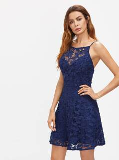 Lace Overlay Cami Dress