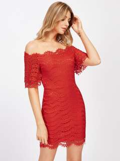Boat Neckline Lace Bodycon Dress