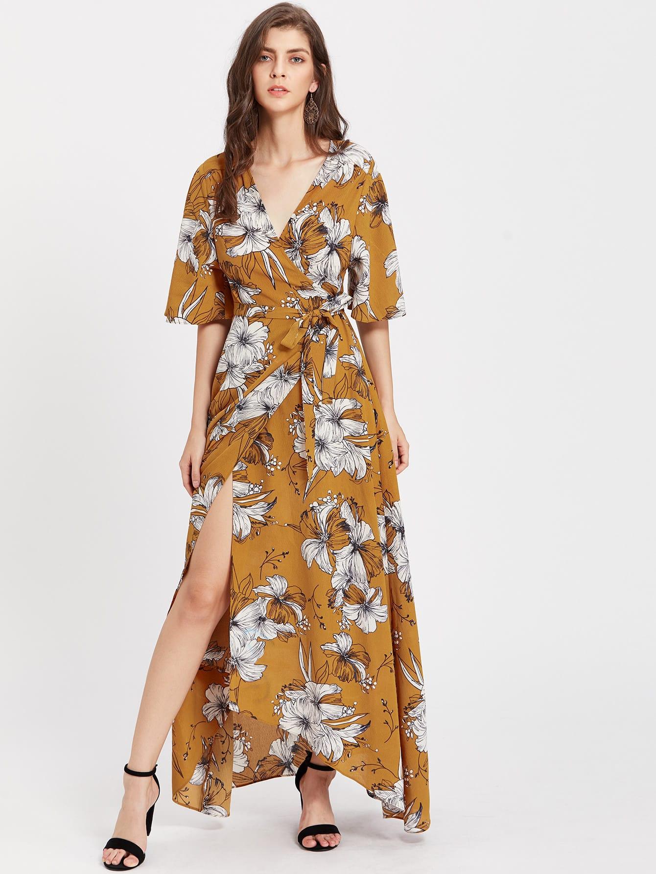 Фото Kimono Sleeve Surplice Wrap Botanical Dress. Купить с доставкой