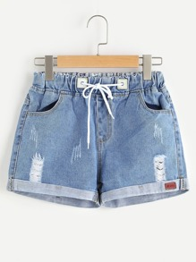 Shorts en denim con cordón
