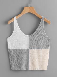 Color Block Knit Tank Top