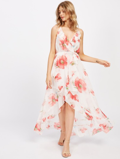 Frill Trim Overlap Front Dress