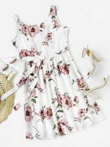 Florals Bow Detail Swing Dress