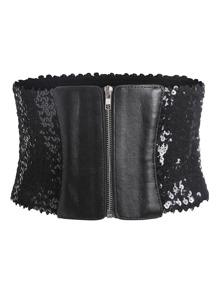Sequin Design Zipper Front Belt
