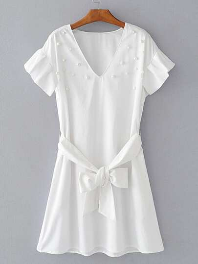 Pearls Embellished Frill Trim Dress With Self Tie