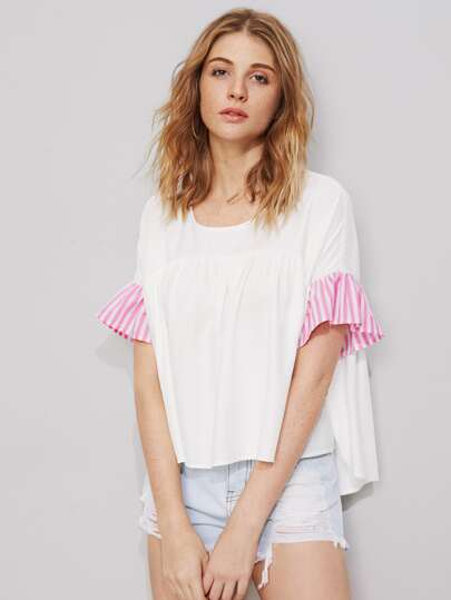 Striped Ruffle Sleeve Oversized Smock Top