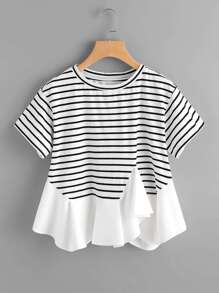 Asymmetric Ruffle Trim Striped Tee
