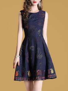 Leaves Embroidered A-Line Dress