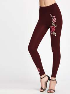 Embroidered Patch Detail Wide Waistband Leggings