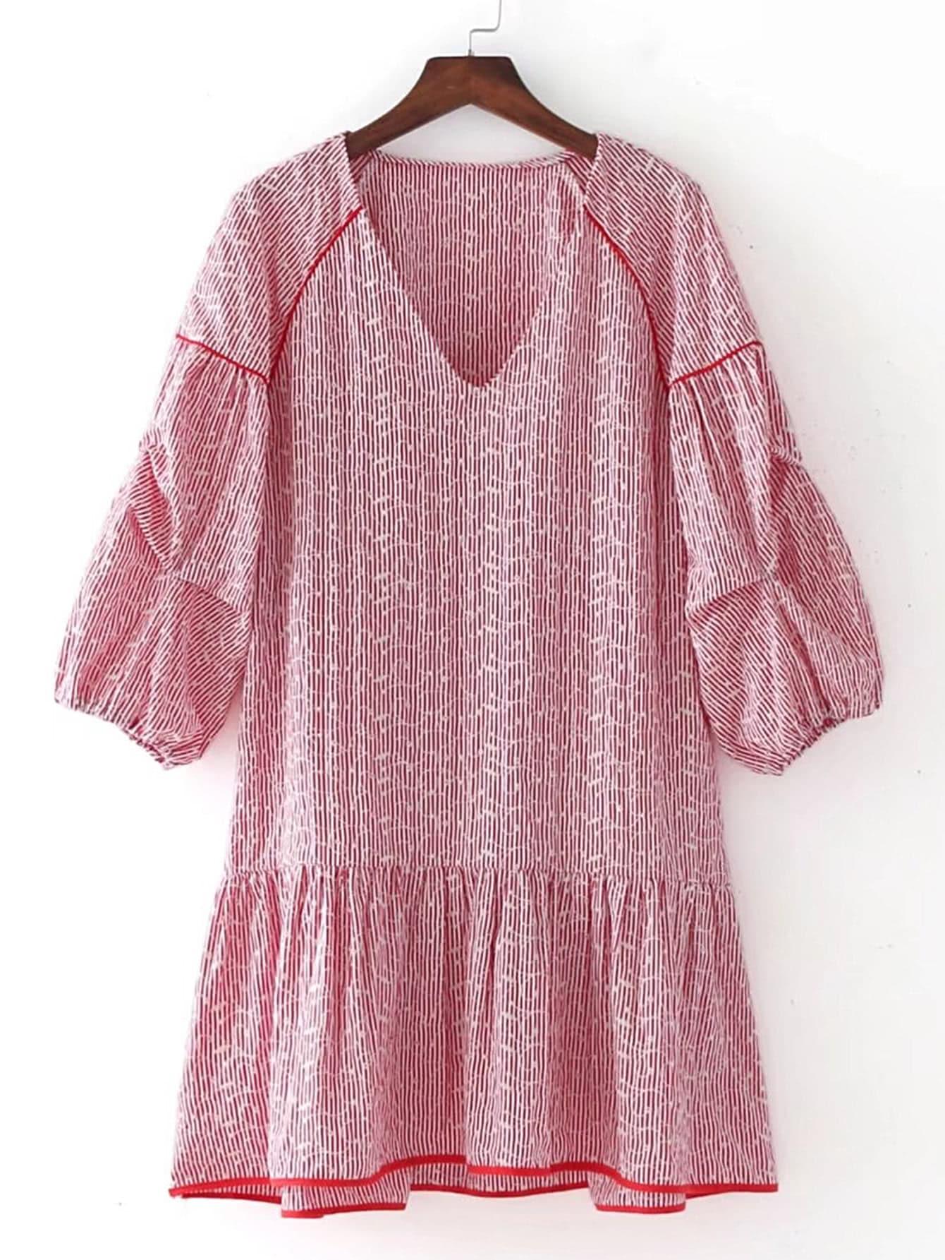 Фото Drop Shoulder Low Waist Embroidery Dress. Купить с доставкой