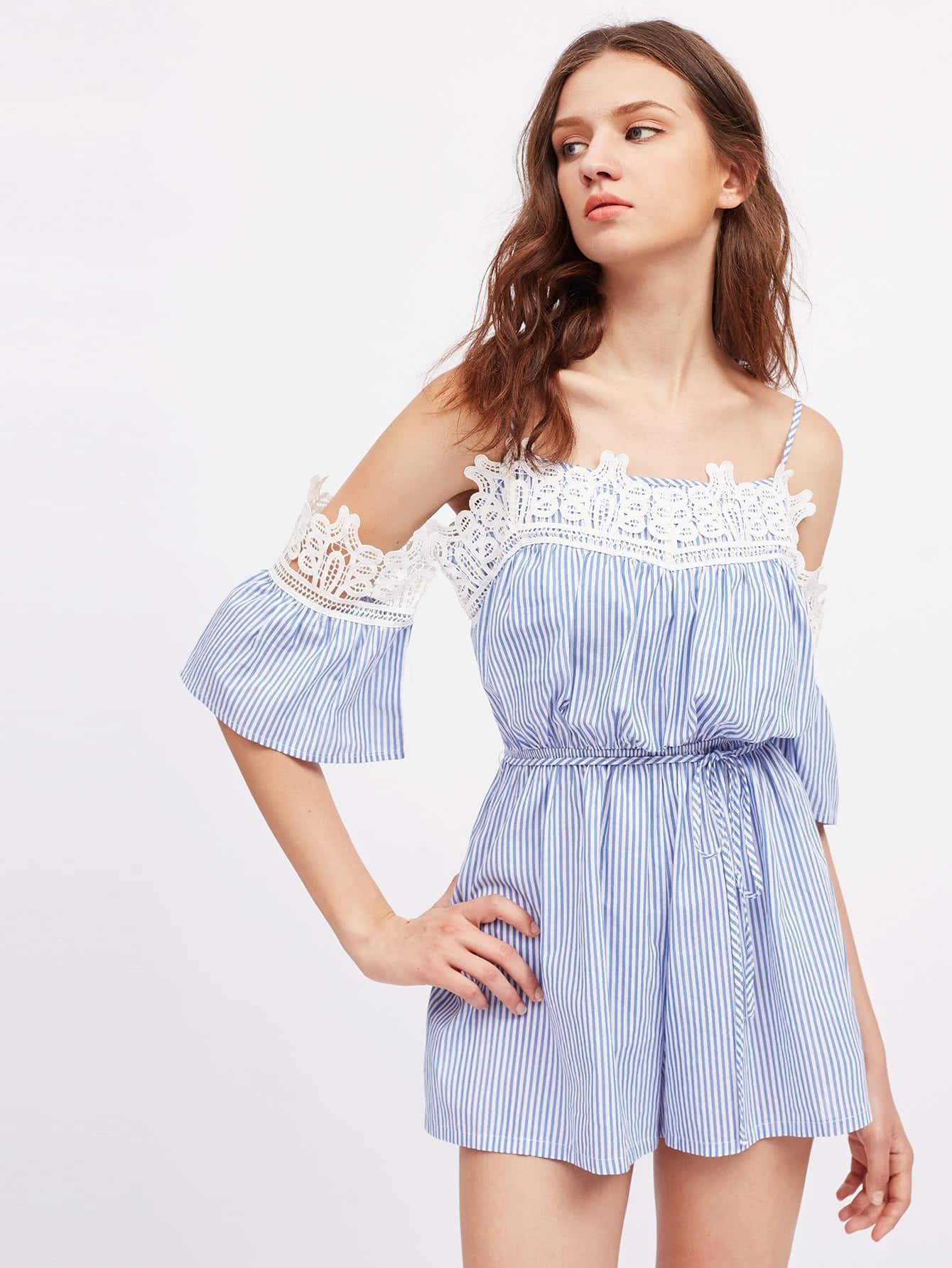 Фото Contrast Lace Trim Tie Waist Striped Playsuit. Купить с доставкой