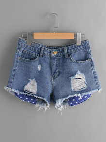 Star Stick Out Pockets Detail Distressed Denim Shorts