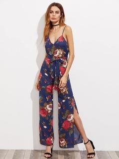 Rose Print Self Belted Split Side Cami Jumpsuit