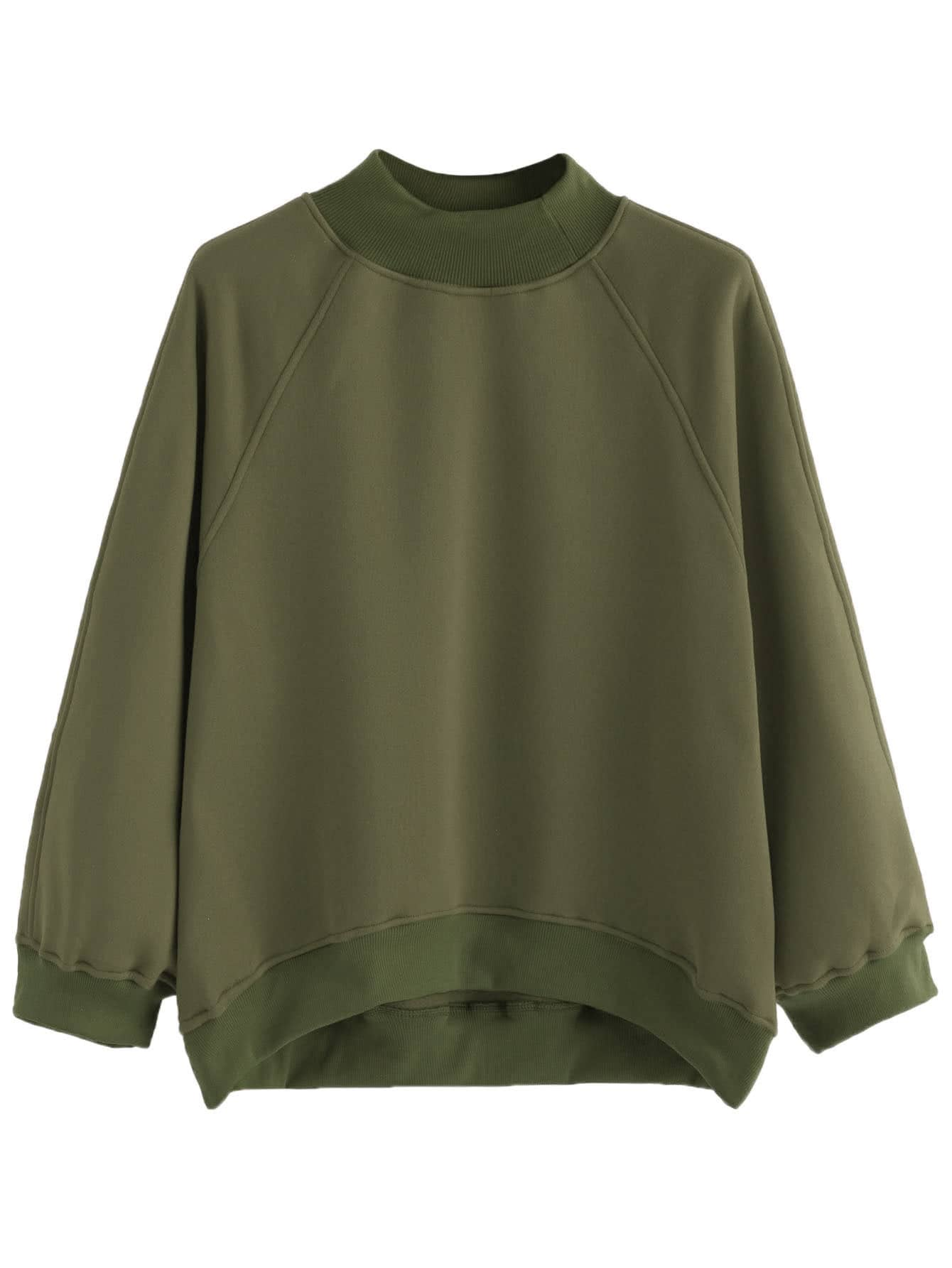 Army Green Raglan Sleeve Dip Hem Sweatshirt two tone raglan sleeve sweatshirt