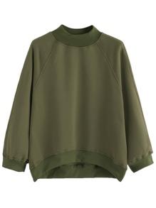 Army Green Raglan Sleeve Dip Hem Sweatshirt