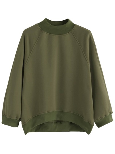 Army Green Raglan Sleeve Dip Hem Sweatshirt