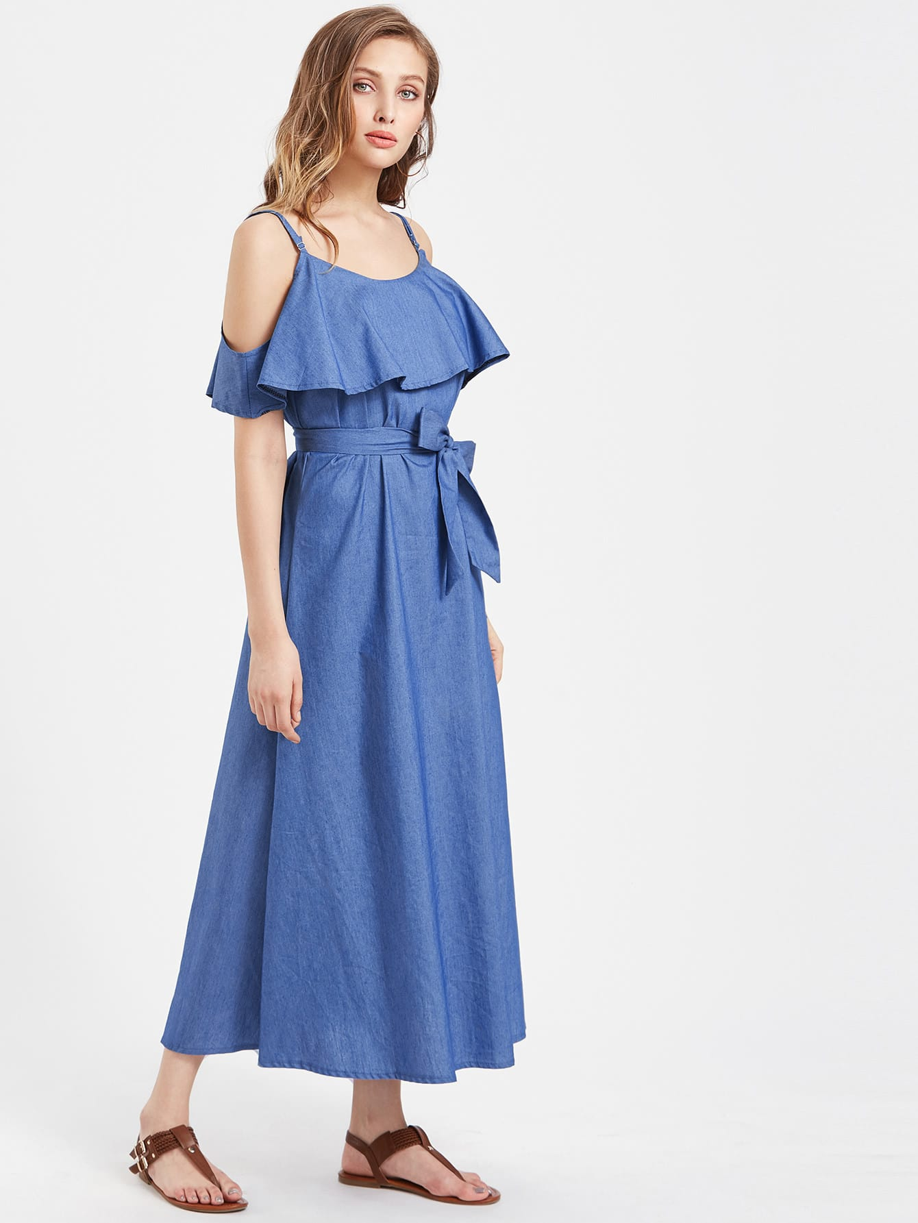 Open Shoulder Layered Maxi Long Dress With Belt thumbnail