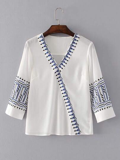 Surplice Front Embroidery Top