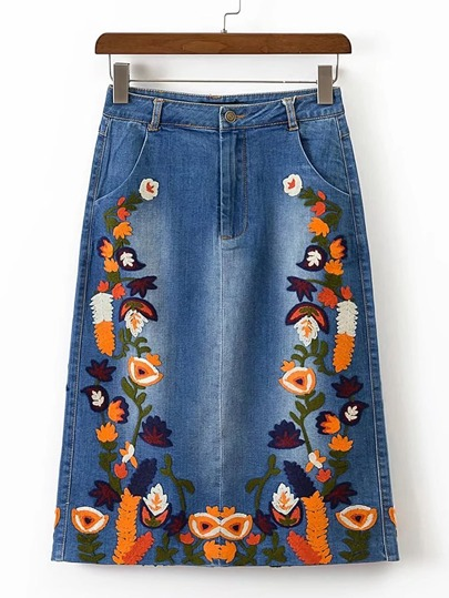 Flower Embroidery Split Back Denim Skirt
