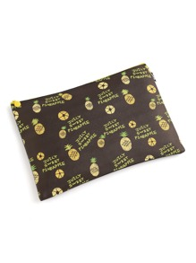 Pineapple Print Slim Accessory Pouch