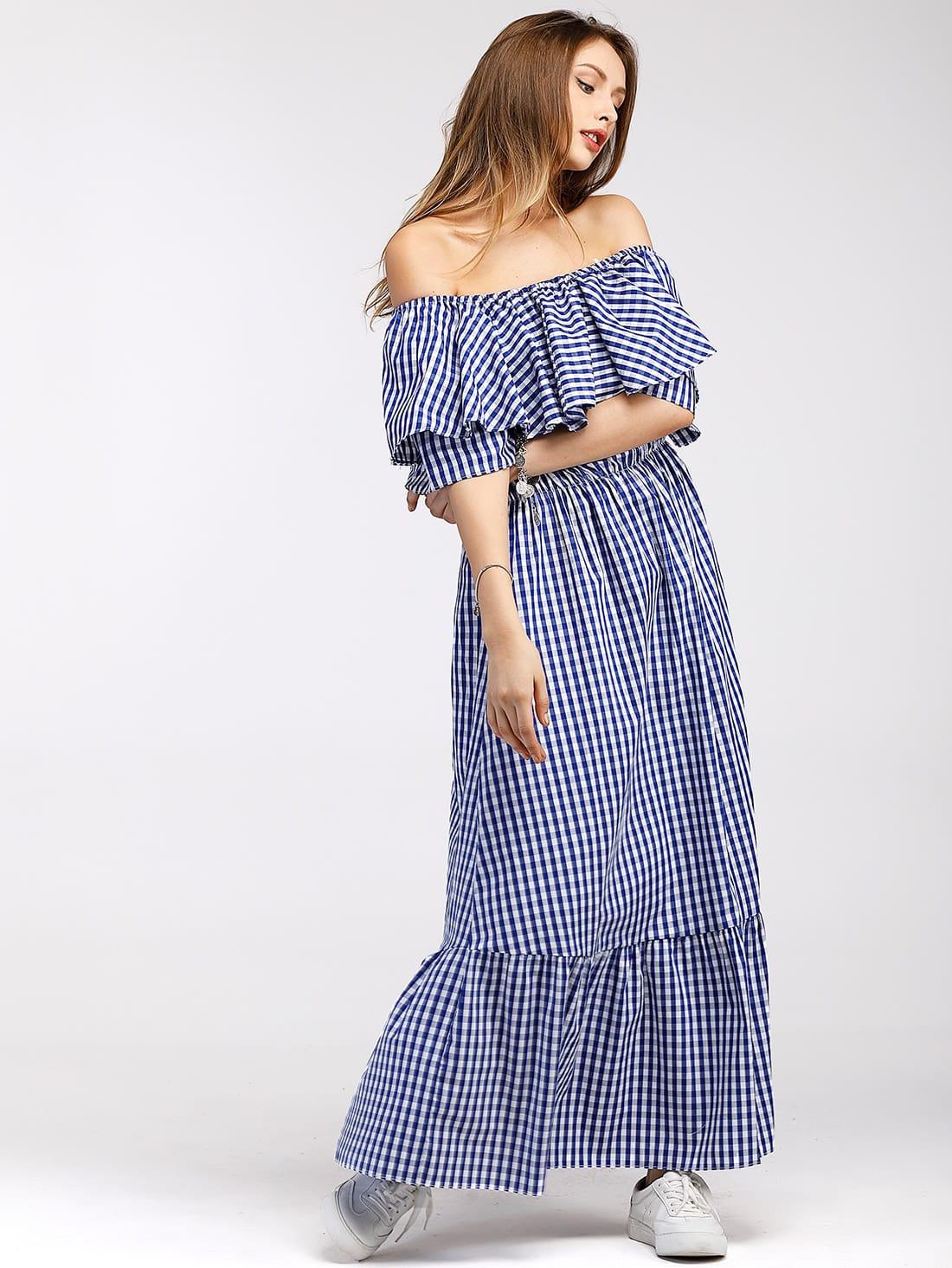 Фото Gingham Flounce Layered Tiered Bardot Dress. Купить с доставкой