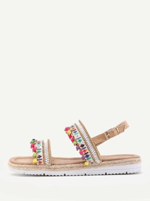Pom Pom Decorated Strappy Sandals