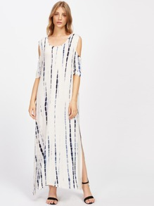 Tie Dye Open Shoulder Slit Side Dress