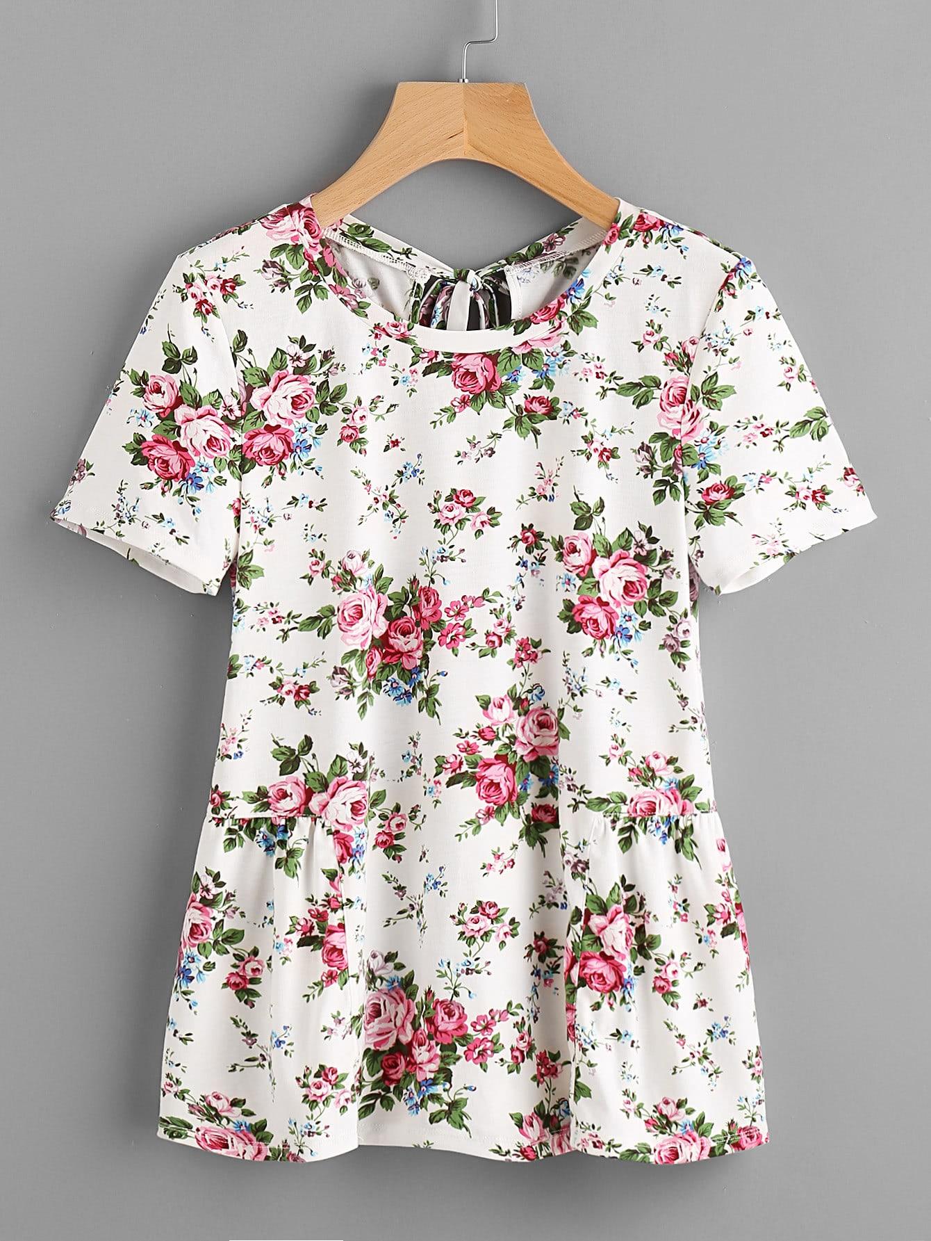 Фото Flower Print Keyhole Tie Back Gather Side T-shirt. Купить с доставкой