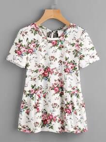 Flower Print Keyhole Tie Back Gather Side T-shirt