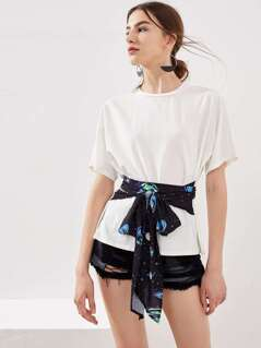Galaxy Print Sash Tie Detail T-shirt