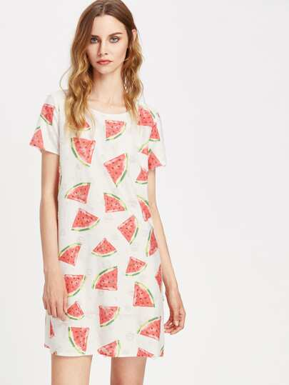 Allover Watermelon Print Frayed Dot Tee Dress