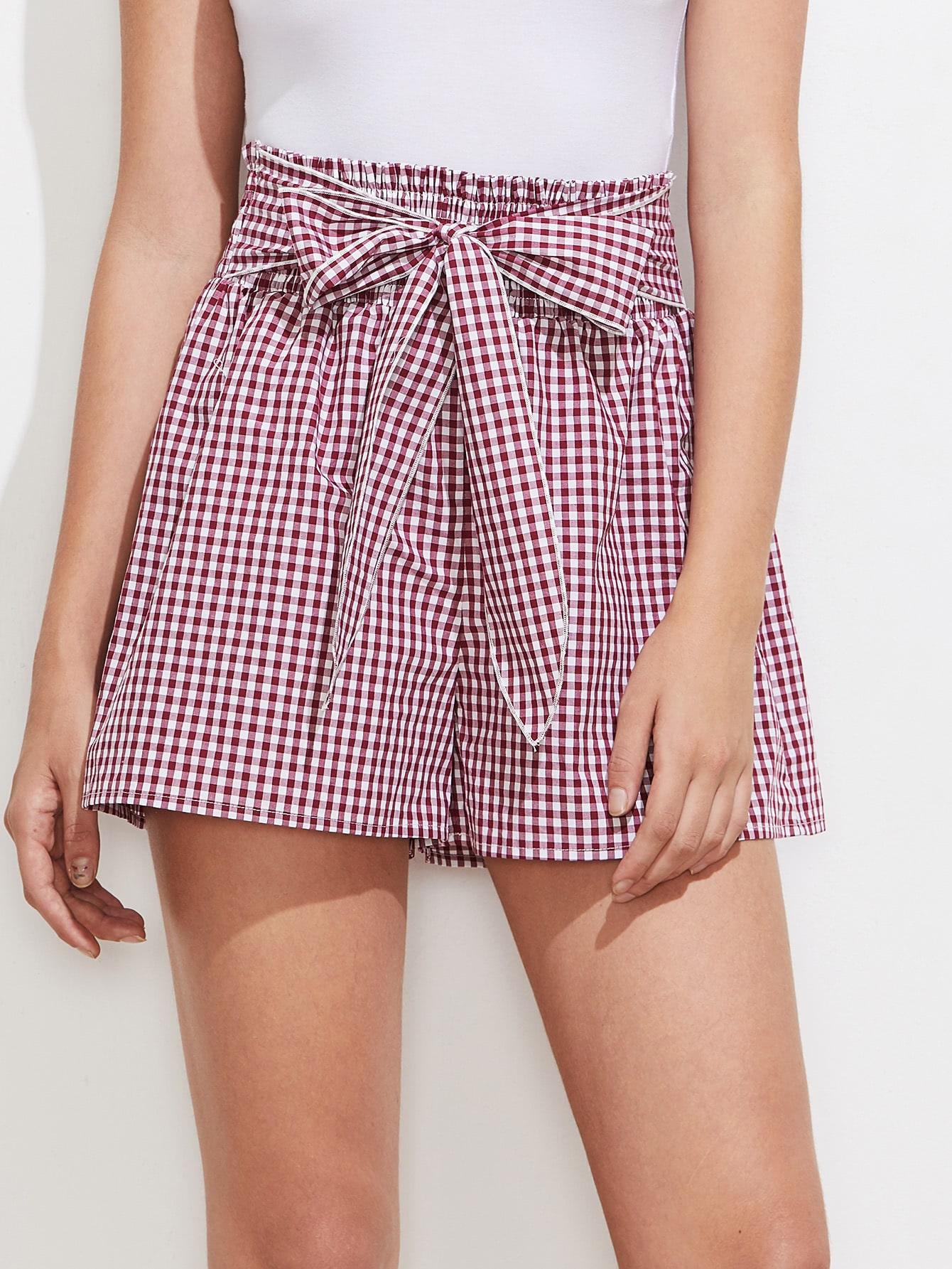 Bow Tie Smocked Waist Checkered Shorts