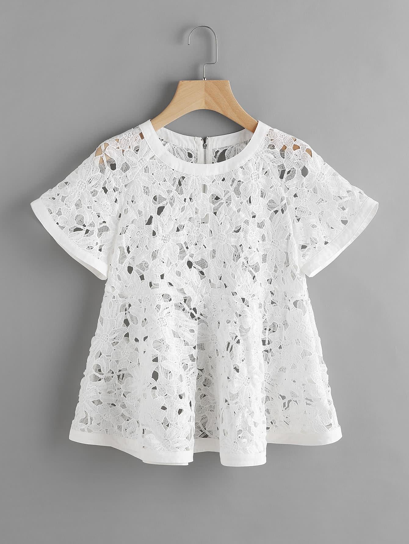 Zip Back Floral Crochet Trapeze Top blouse170518708