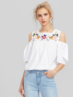 Open Shoulder Flower Embroidery Blouse
