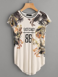 Tropical Print Raw Cut Cap Sleeve Tee