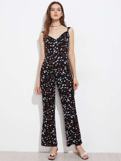 Allover Daisy Print Bow Tie Back Jumpsuit