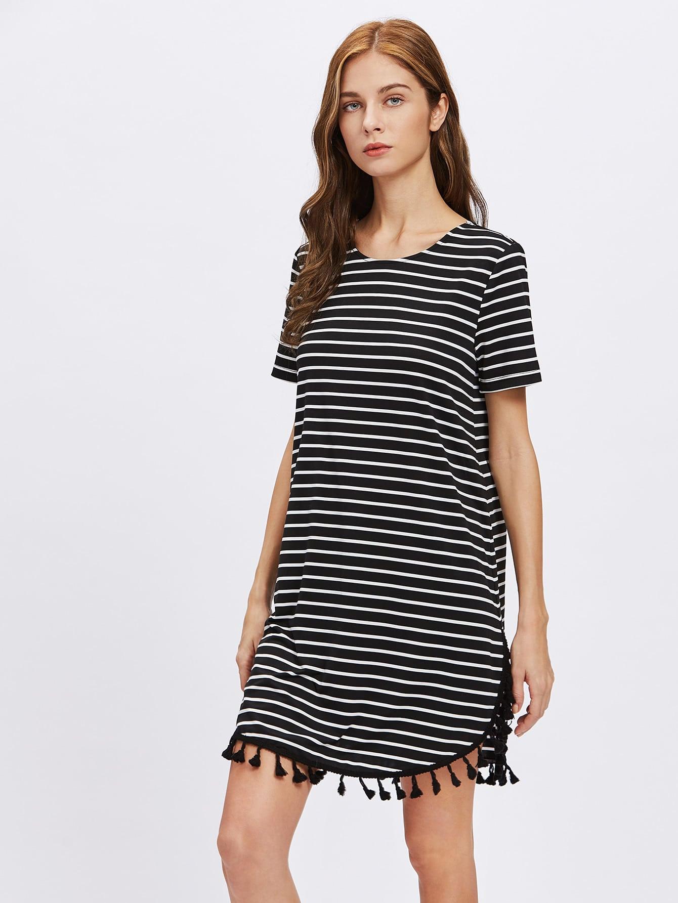 Фото Tassel Trim Dolphin Hem Striped Tee Dress. Купить с доставкой