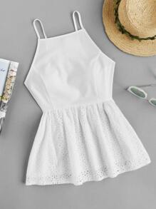 Princess Seam Eyelet Embroidered Trim Peplum Cami Top