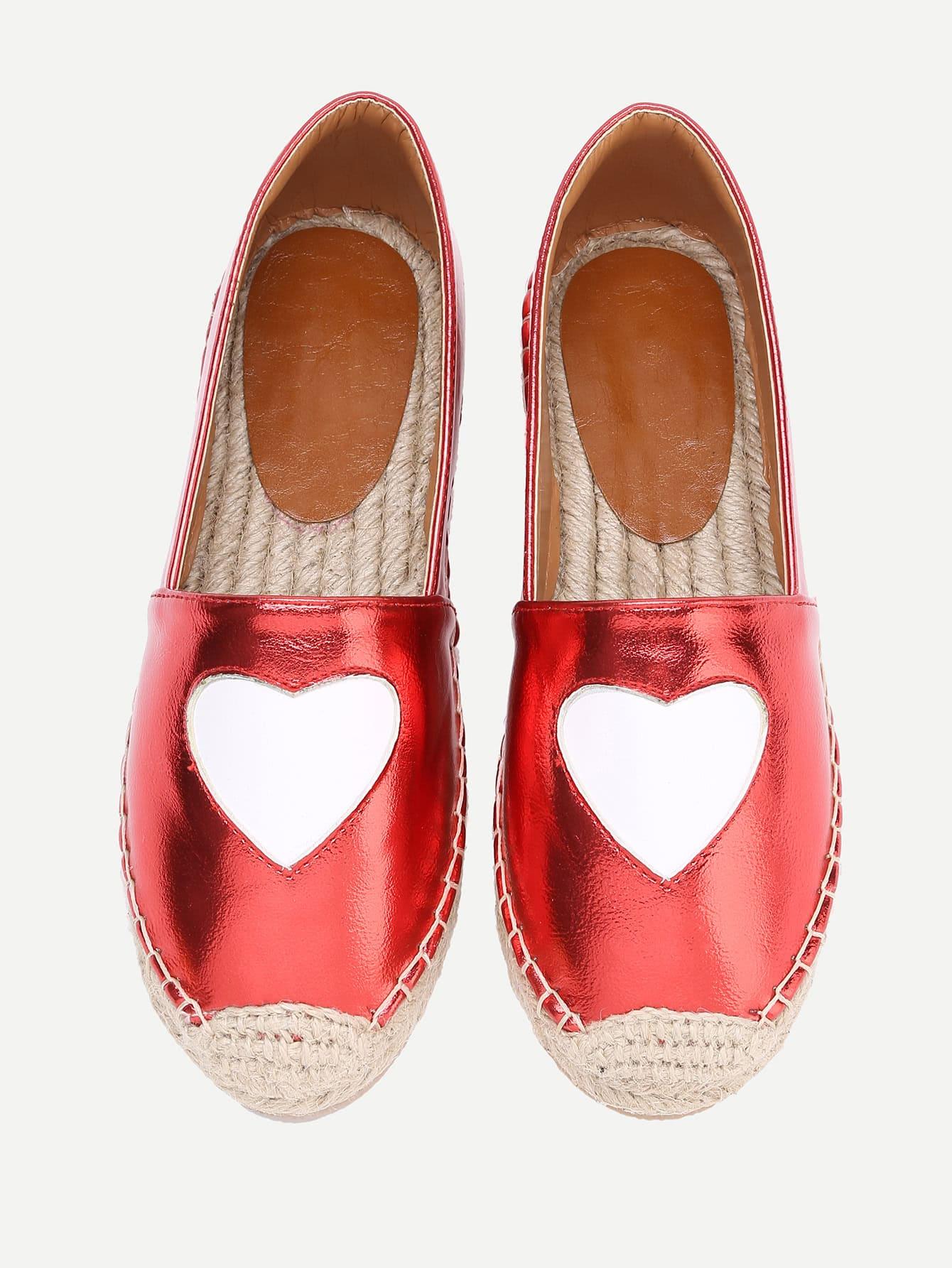 Фото PU Heart Pattern Espadrille Flats. Купить с доставкой