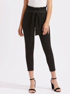 Shirred Ruffle Waist Self Belted Pants