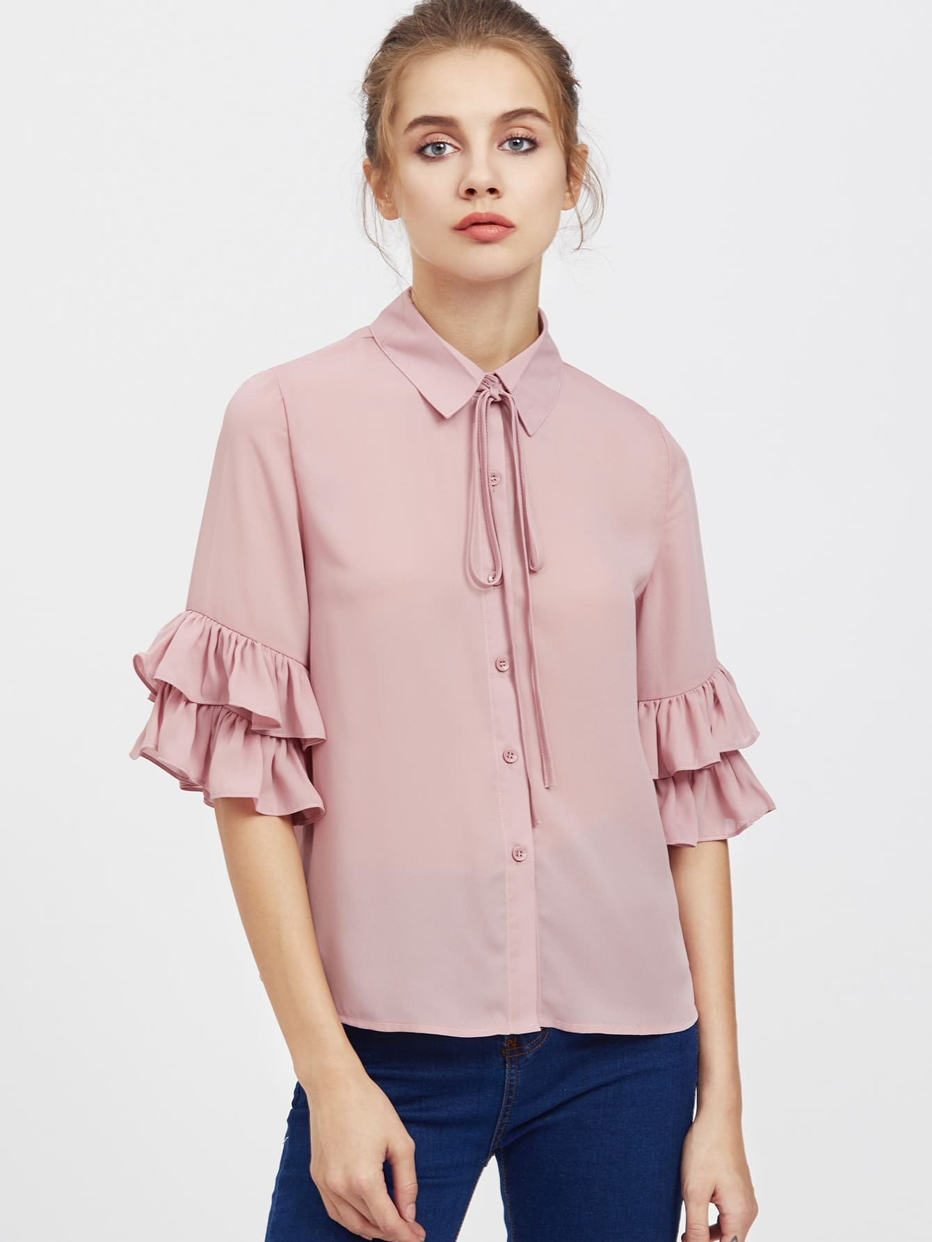 Tie Neck Layered Ruffle Sleeve Blouse blouse170508455