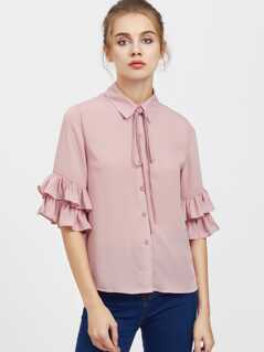 Tie Neck Layered Ruffle Sleeve Blouse