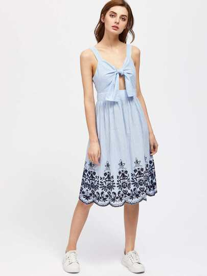 Vine Embroidered Scallop Hem Knot Front Peekaboo Dress