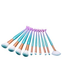 Ombre Mermaid Handle Makeup Brush 10pcs