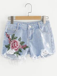 Embroidered Flower Applique Distressed Denim Shorts