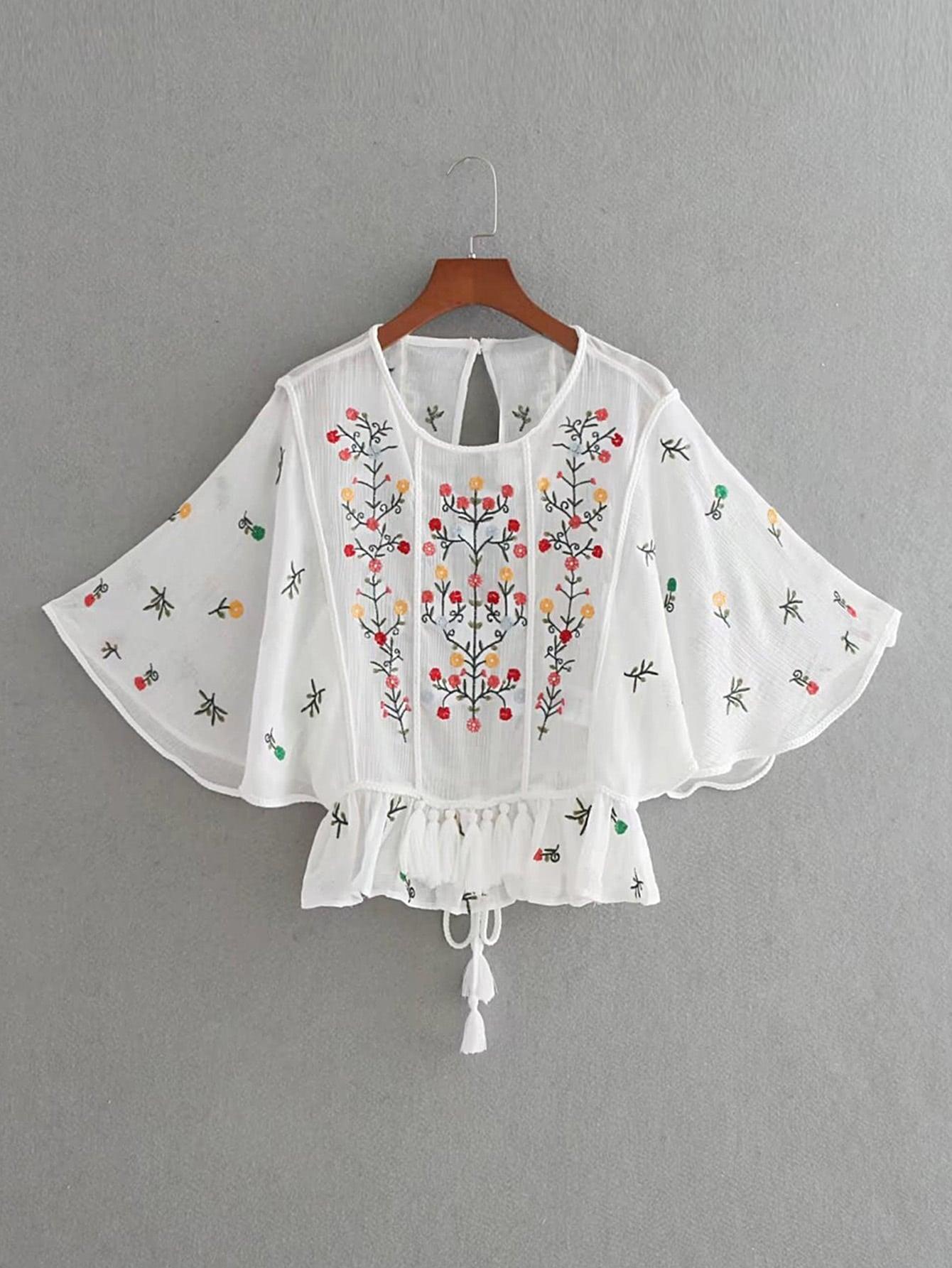 Фото Flower Embroidery Open Back Tassel Tie Top. Купить с доставкой
