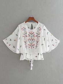 Flower Embroidery Open Back Tassel Tie Top