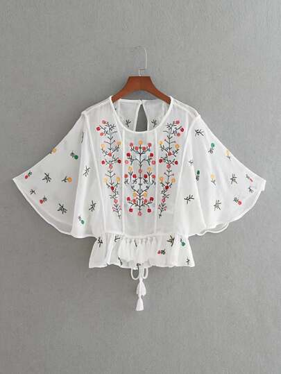 Flower Embroidery Open Back Tassel Tie Top